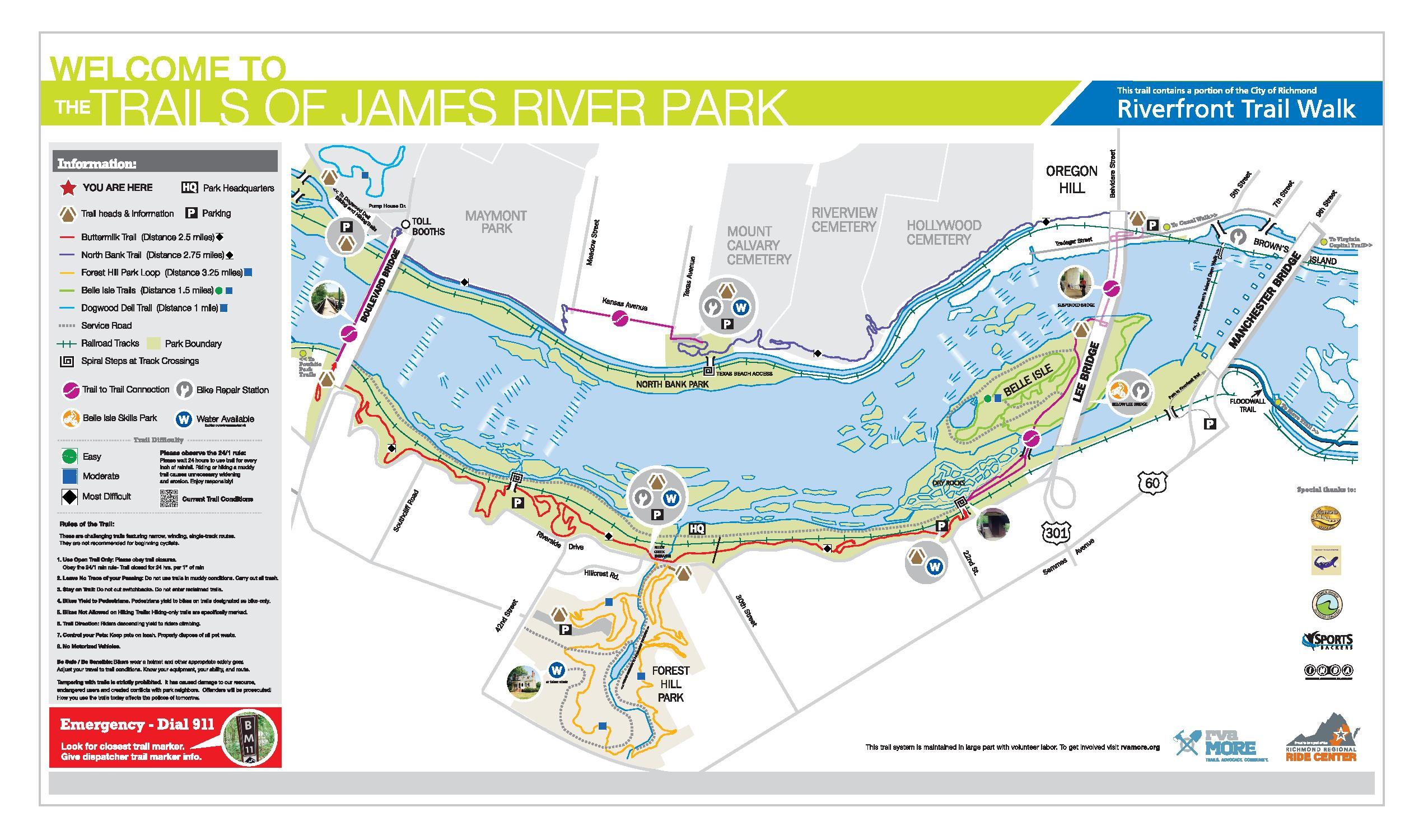 James River Park System JRPS RvaMORE Site - River system map